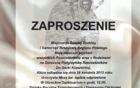 Doroczna Pielgrzymka Rzemieślników do Górki Klasztornej.